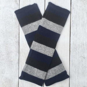 Hand on Heart Striped Cashmere Fingerless Glove - French Navy