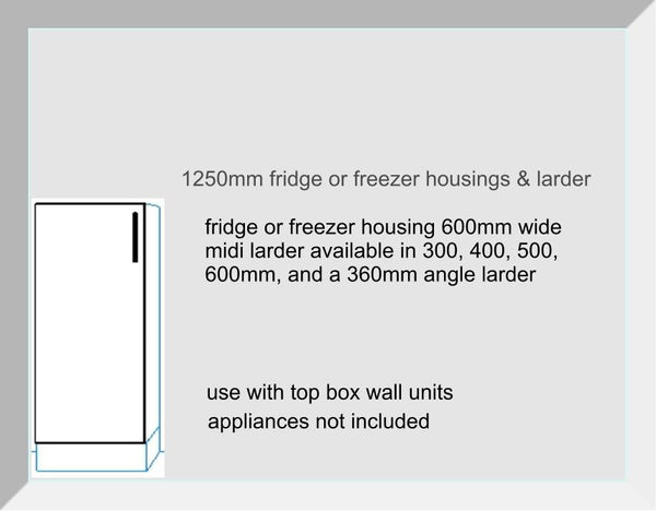 Larder Midi Fridge & Freezer Unit 1250mm High Mayfair Mussell
