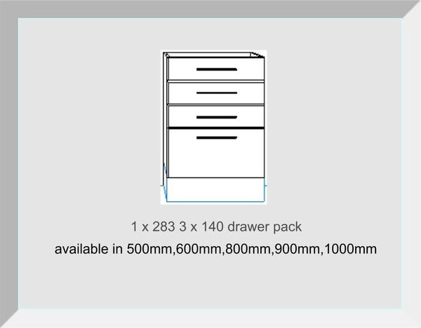 Drawer packs 4 Drawers 3 x 140mm 1 x 283mm  Odyssey White Gloss