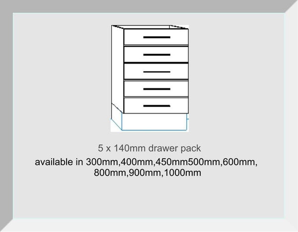 Drawer packs 5 Drawers 5 x 140mm Mayfair Mussell Kitchen