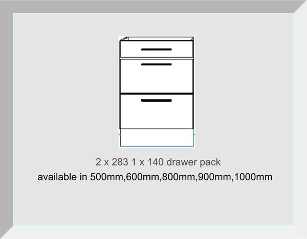 Drawer packs 3 Drawers  1 x 140 2 x 283  Mayfair Mussell Kitchen