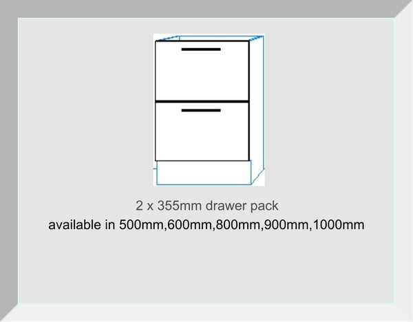 Drawer packs 2 Drawers  2 x 355mm  Keld Cream Gloss