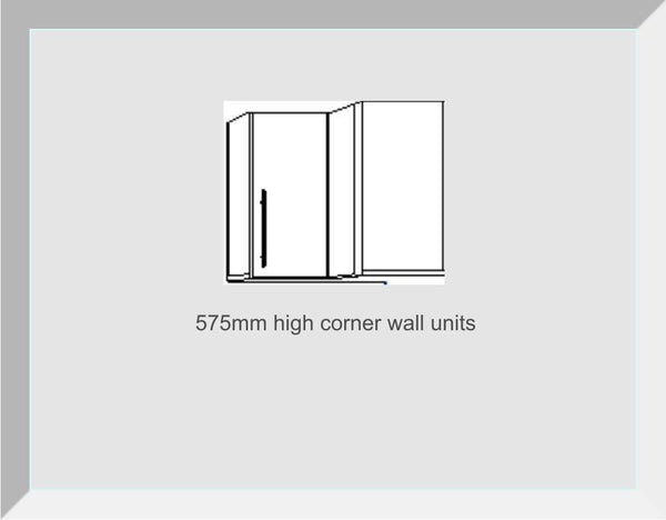 575mm High Single Corner Wall Units Amalfi Cream Gloss