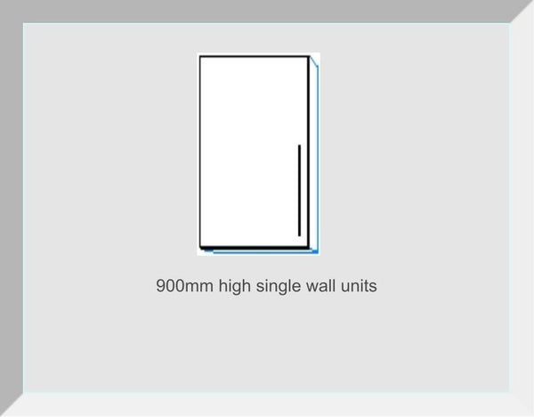 900mm High Single Wall Units Lucerne Ivory Handleless