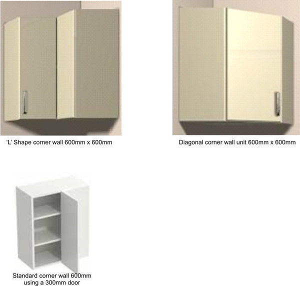 575mm High Single Corner Wall Units Buckingham Dakar