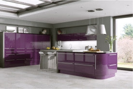 575mm High Single Corner Wall Units Odyssey Aubergine Gloss