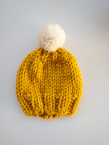 Mustard with Cream Pom Pom - Baby - Lottie and Moo Bowtique