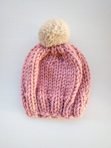 Rose Beanie - Fawn Pom Pom - Toddler - Lottie and Moo Bowtique