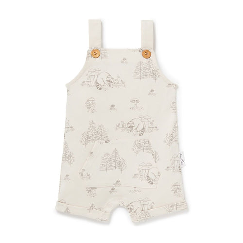 Raccoon Pocket Overalls - Bone - Lottie and Moo Bowtique