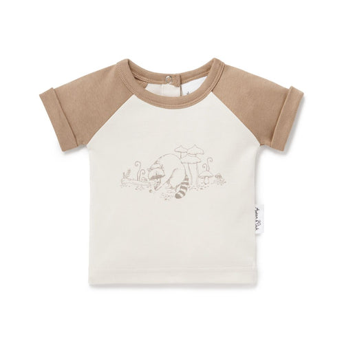 Raccoon Print Raglan Tee - Lottie and Moo Bowtique