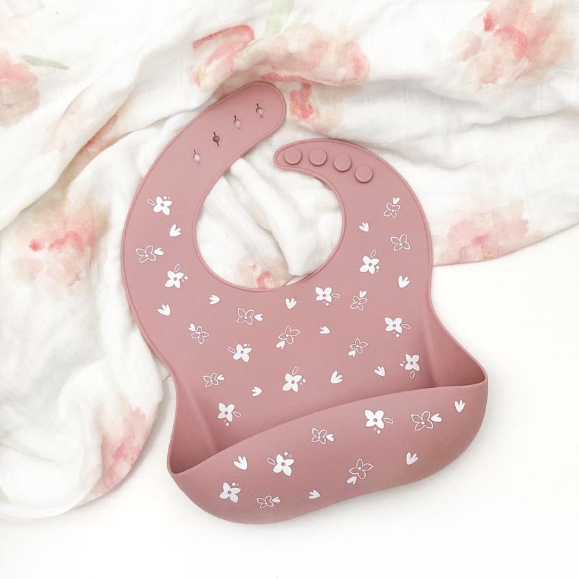 Silicone Catch Bib - Floral Rose - Lottie and Moo Bowtique