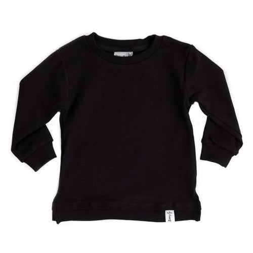 Long Sleeved Tee - Black Ribbed - Lottie and Moo Bowtique