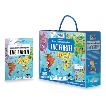 Travel, Learn and Explore - Puzzle and Book Set - The Earth, 205 pcs - Lottie and Moo Bowtique