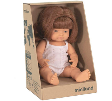Miniland Doll - Anatomically Correct Baby, Caucasian Girl, Red Head, 38 cm - Lottie and Moo Bowtique
