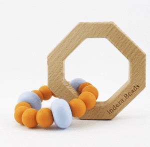 Azuri Silicone and Wood Teether - Mango and Blue - Lottie and Moo Bowtique
