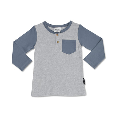 Burrow Raglan Henley Tee - Grey Marle - Lottie and Moo Bowtique