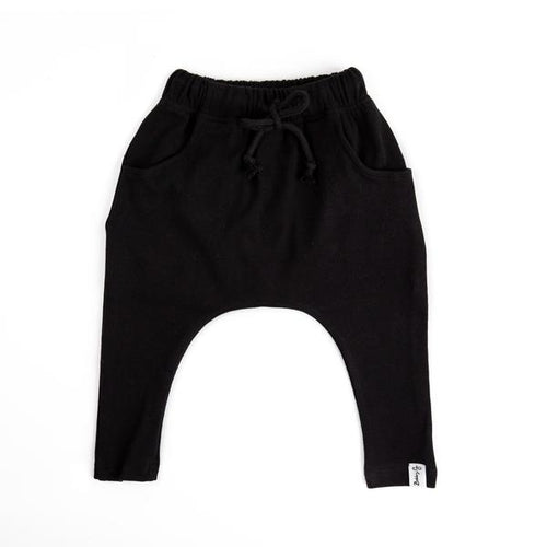 Harem Pants - Black Ribbed - Lottie and Moo Bowtique