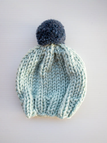 Whispy Beanie - Denim Pom Pom - Baby - Lottie and Moo Bowtique