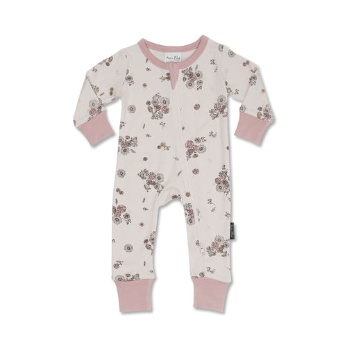 Vintage Floral Zip Romper - Lottie and Moo Bowtique