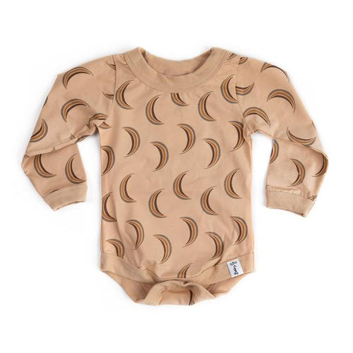 Long Sleeved Body Suit - Half Moon in Wheat - Lottie and Moo Bowtique