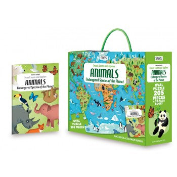 Travel, Learn and Explore - Puzzle and Book Set - Endangered Species of the Planet, 205 pcs - Lottie and Moo Bowtique