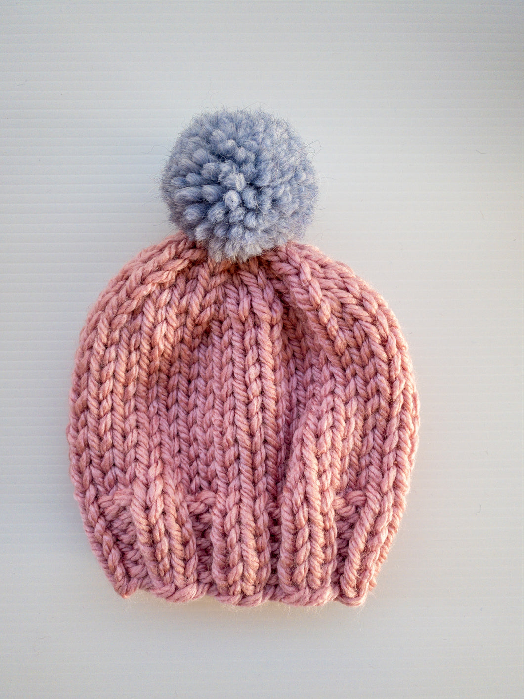 Rose Beanie - L/Blue Pom Pom - Baby - Lottie and Moo Bowtique
