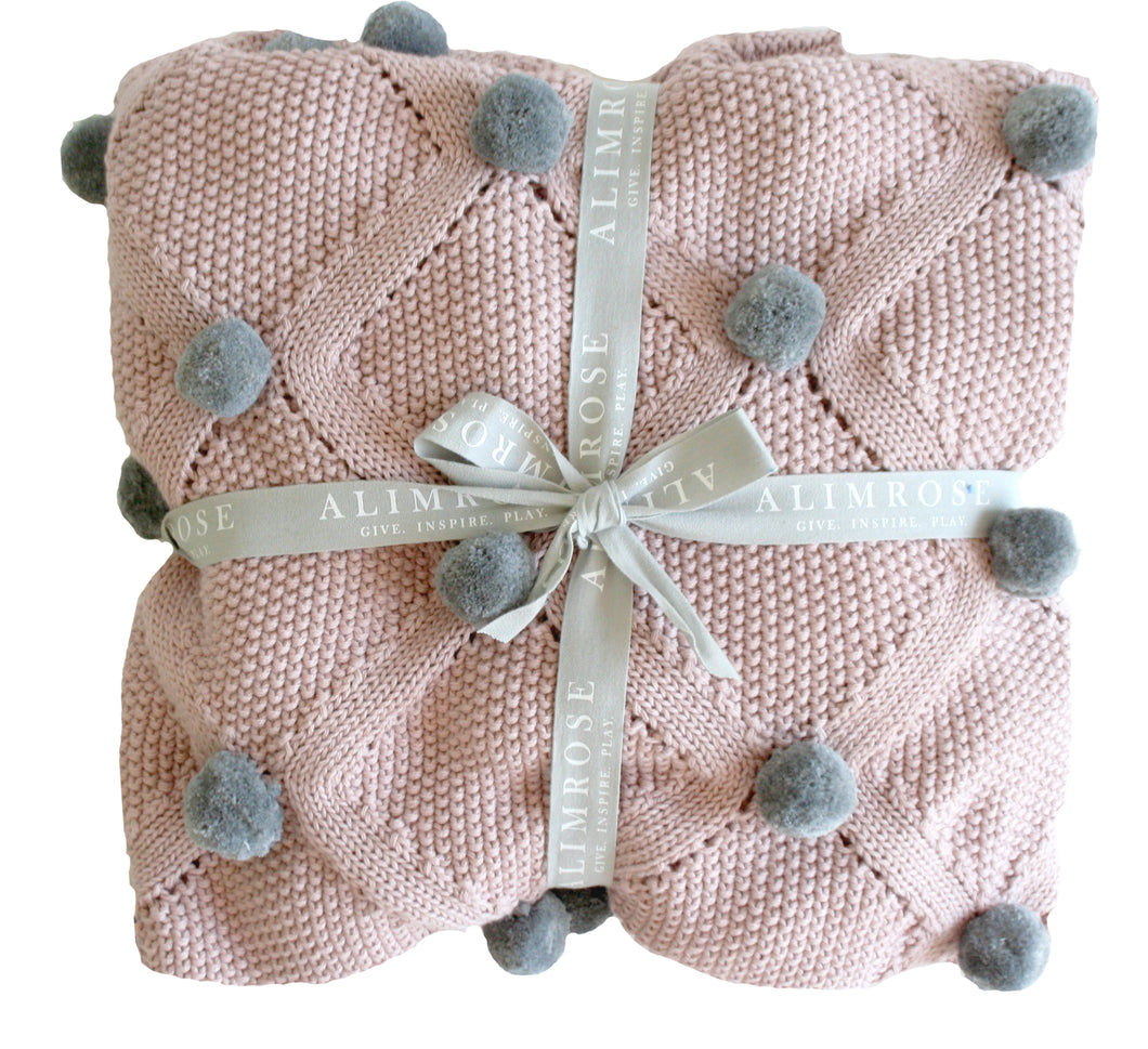 Pom Pom Blanket - Rosewater & Grey - Lottie and Moo Bowtique