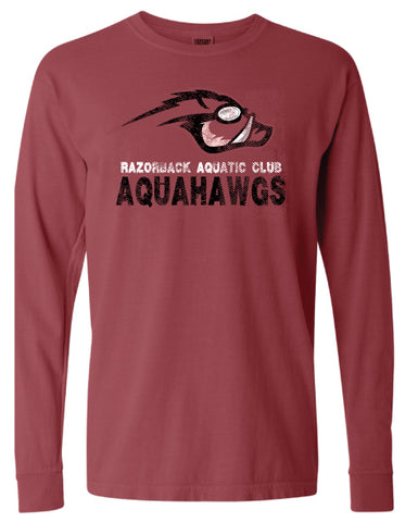 AquaHawgs Long Sleeve T Shirt - Cardinal Comfort Colors