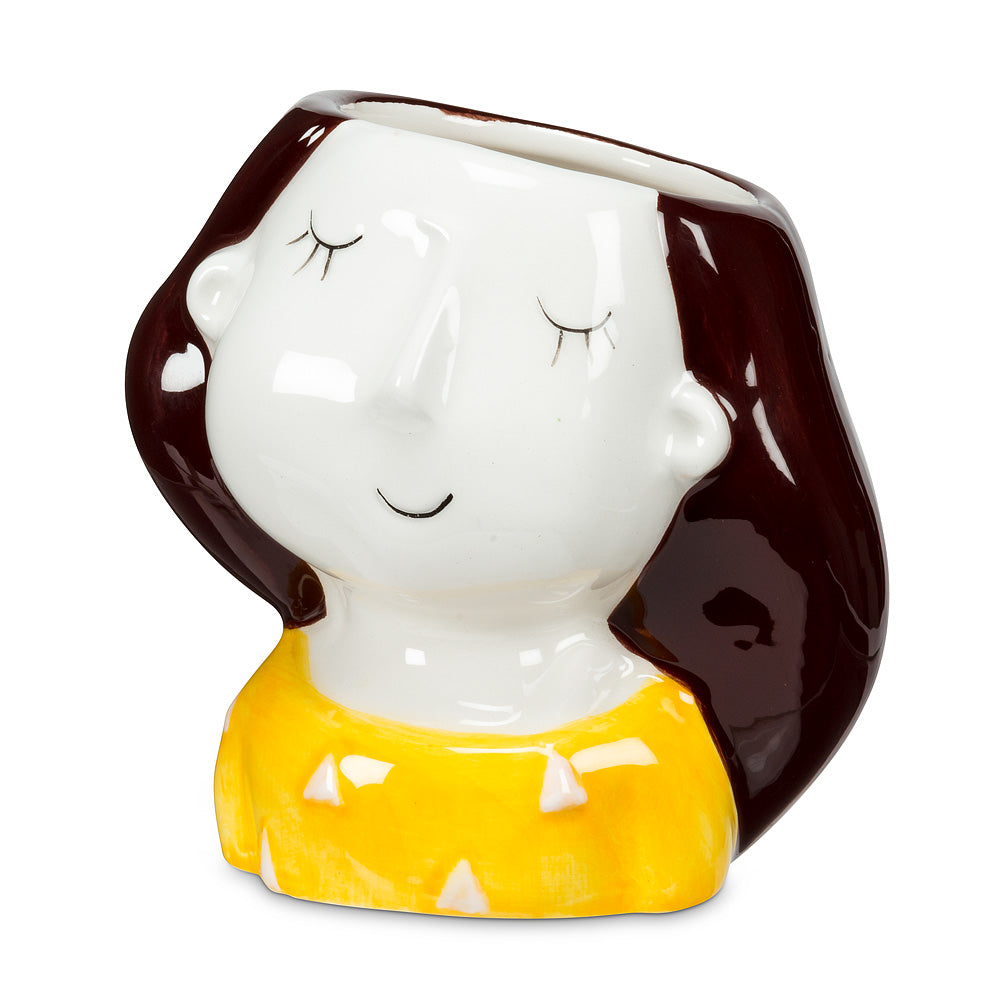Girl Planter with Yellow Polka Dots - End of Season Sale