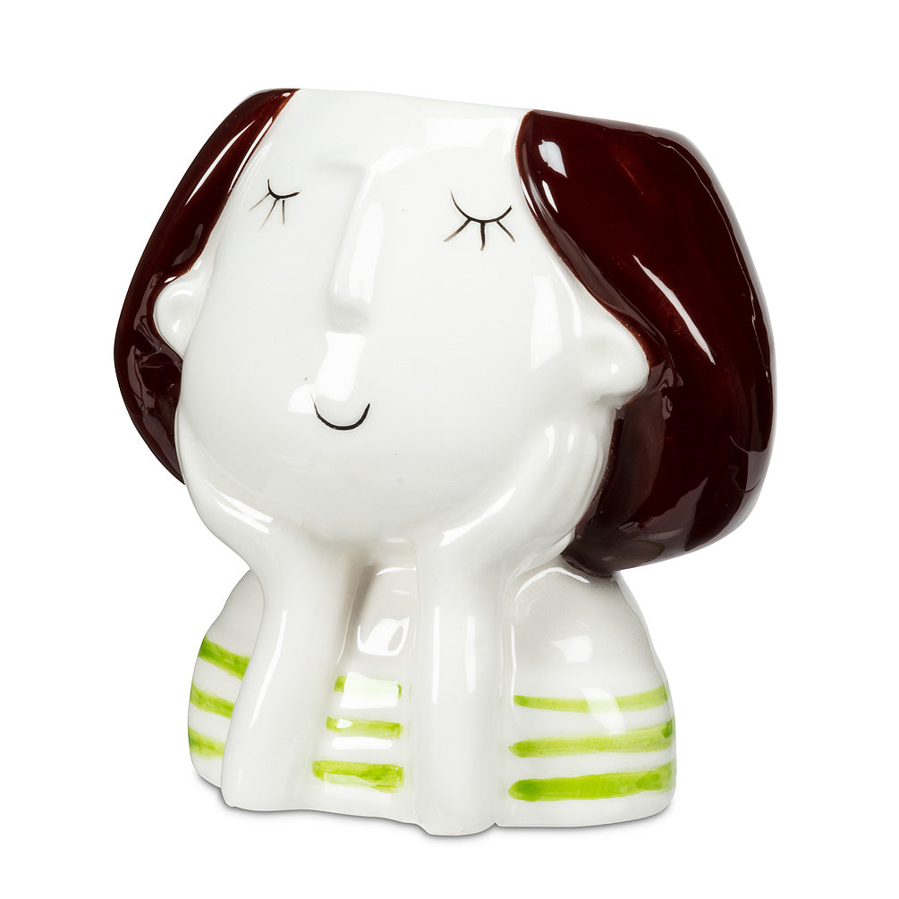 Girl Planter with Green Stripes - End of Season Sale