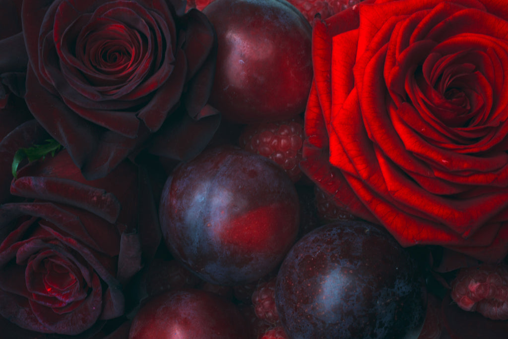 Roses, Raspberries & Plums