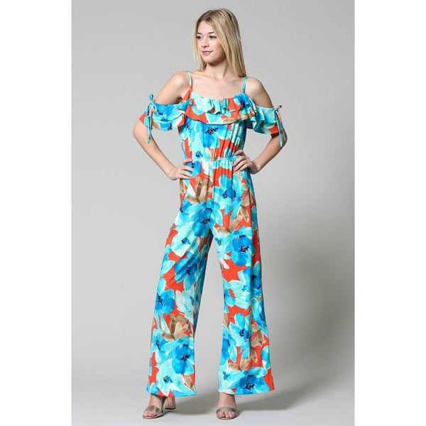 Floral Top Ruffle Jumpsuit-Coral