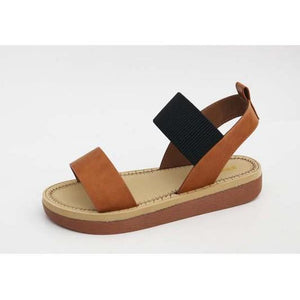 Two Tone Strappy Comfort Sandal-Blk/Tan