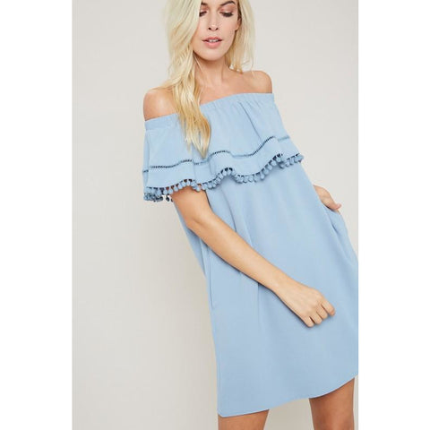Off Shoulder Dress w/ Pompom Ruffle