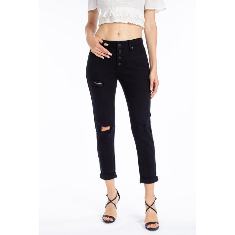 Button Fly Relaxed Fit Crop Rolled Denim-Blk