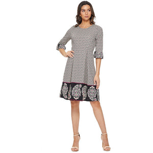 Circle Print Border Bell 3/4 Sleeve Pleated Dress-Blk