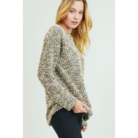 Long Sleeve Nubby Knit Pullover