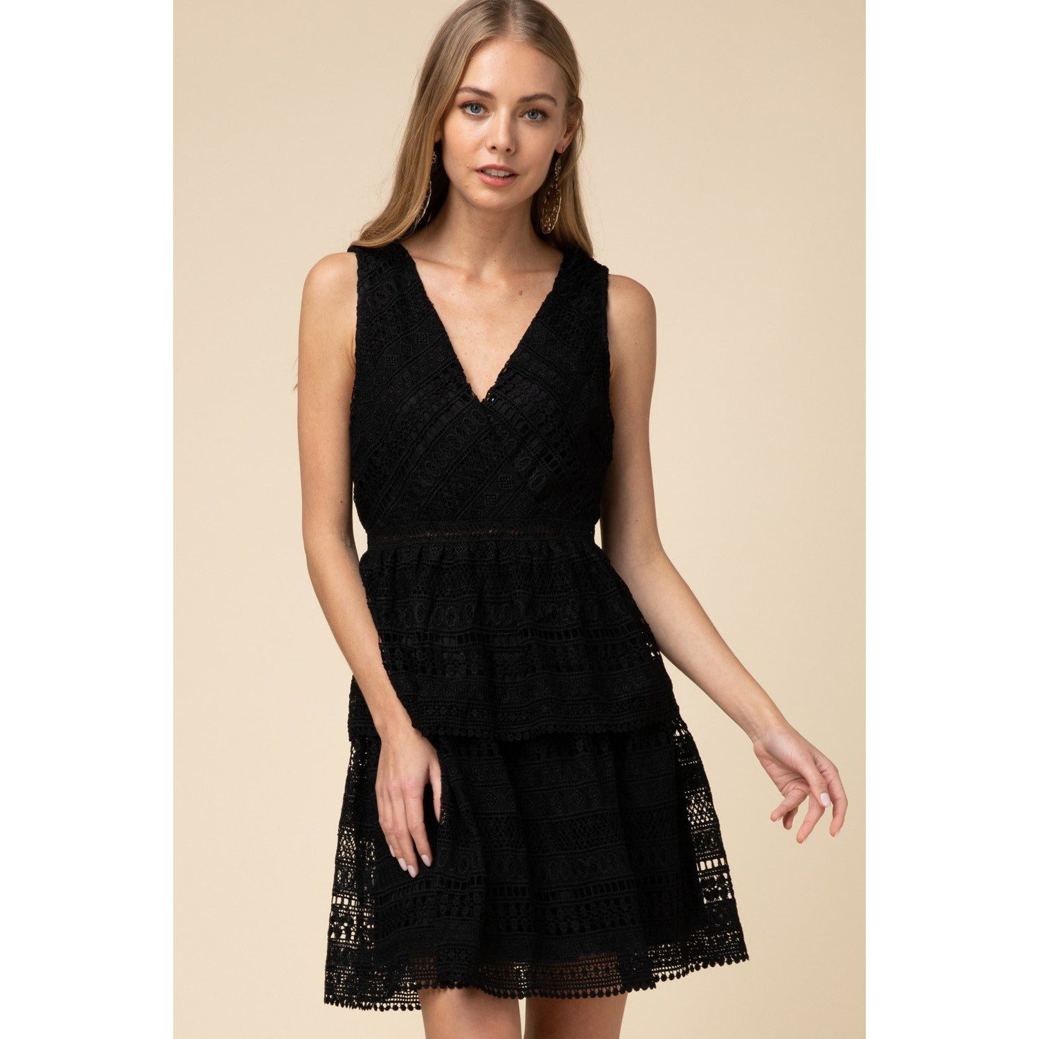 Sleeveless Crochet Lace Surplice Tiered Dress-Blk