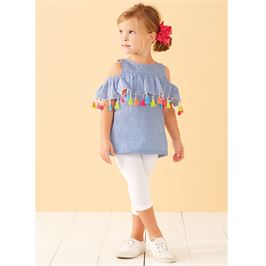 Chambray Tassel Top for Girls