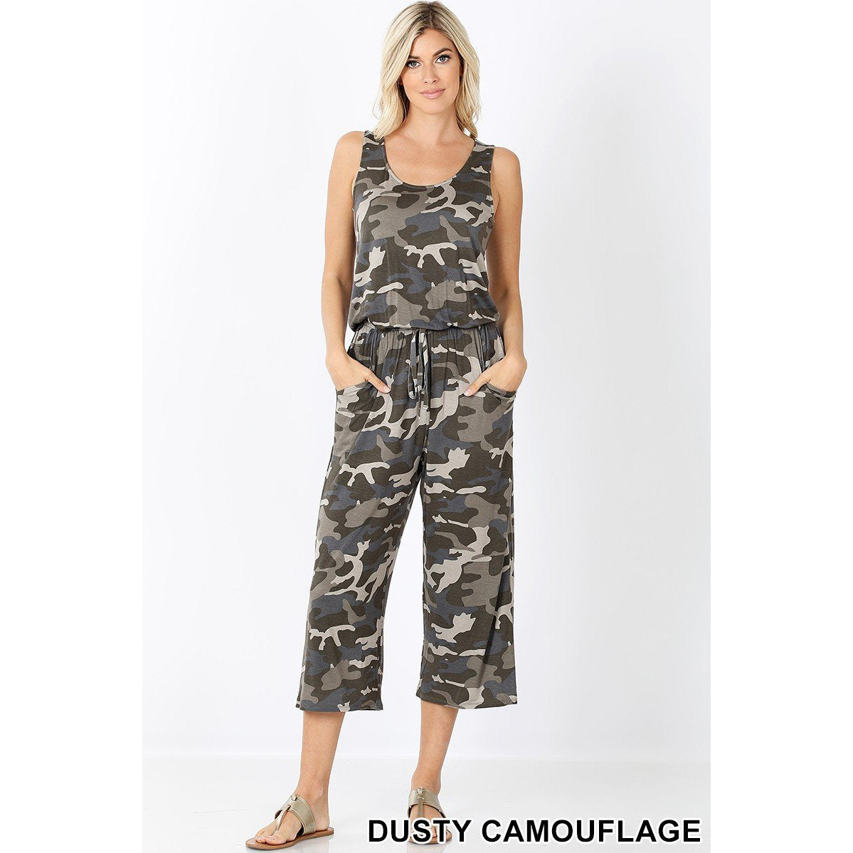 Camo Sleeveless Crop Jumpsuit-Dusty