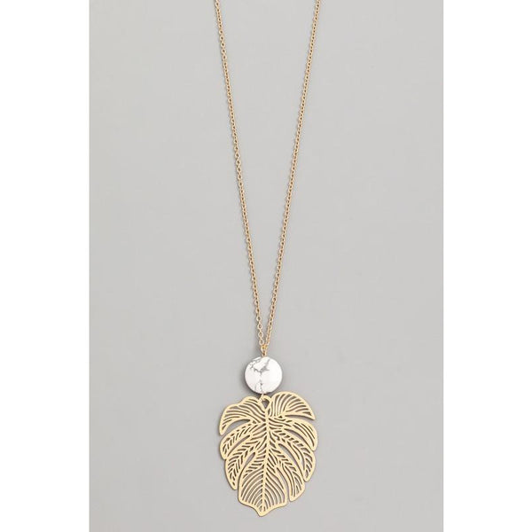 Monstera Leaf Round Stone Necklace