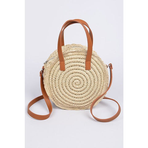 Round Straw Bag w/Leather Shoulder Strap