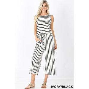 Sleeveless Striped Crop Knit Jumpsuit