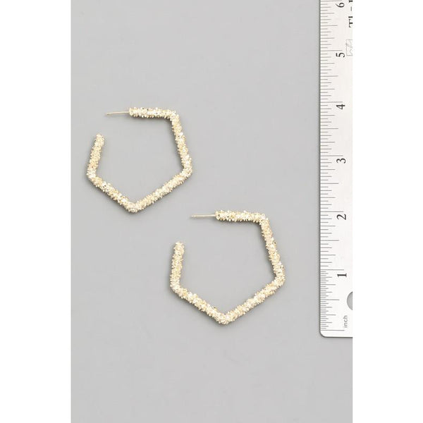 Textured Geometric Hoop Earring