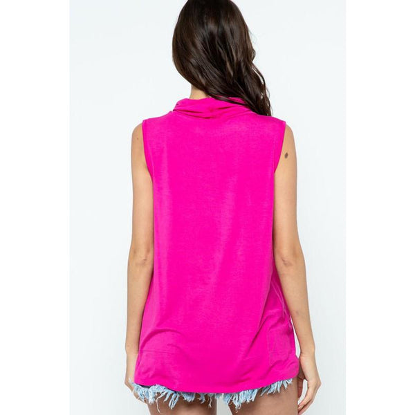 Solid Sleeveless Cowl Neck/Mask Top