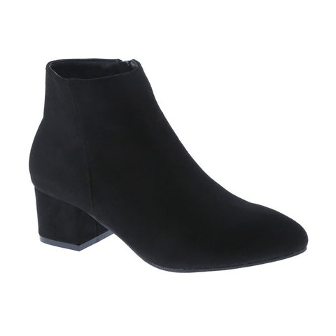 Black Faux Suede Square Heeled Bootie