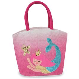 Mermaid Sequin Straw Tote
