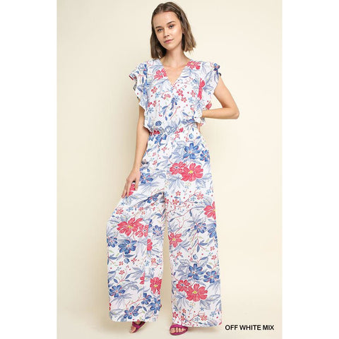 Floral Ruffle Sleeve Surplice Jumpsuit-Off Wht