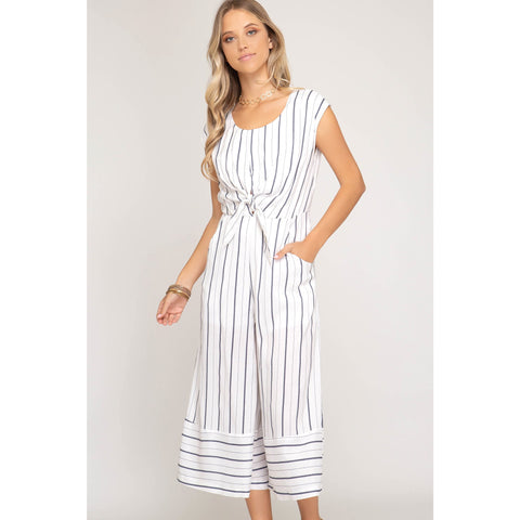 Sleeveless Striped Tie Front Crop Jumpsuit-Nvy