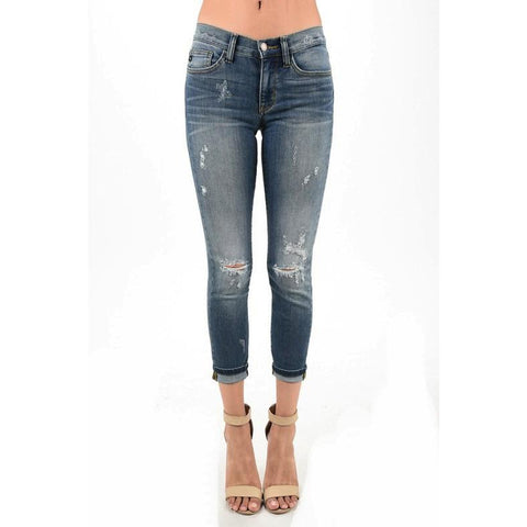 Cuffed Relaxed Fit Destroyed Denim